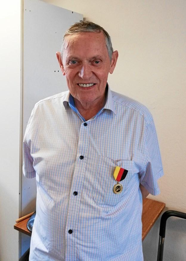 "Per ""Elektro"" Jensen - hyldet for sine 60 år som klarinettist hos Hobro Borgervæbning.  Privatfoto"