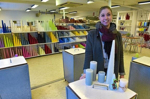 Vorupør Lys og Blomster har naturligvis også salg af egne fremstillede lys. Foto: Ole Iversen Ole Iversen