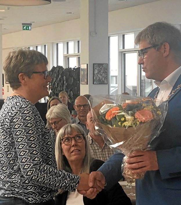 Blomster til verdensmesteren. Foto: Thomas Nielsen