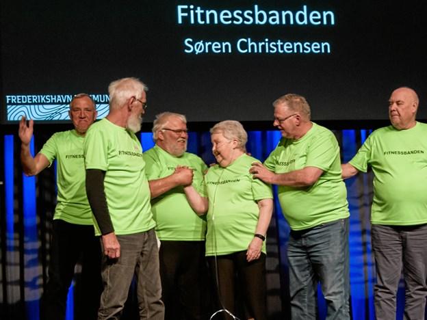 Prisfesten holdes torsdag 25. april 2019 kl. 17.00-19.00 i Det Musiske Hus i Frederikshavn. Dørene åbnes kl. 16.30. Her ses Fitnessbanden, som vandt Sundhedsprisen 2017. Foto: Karen Lind