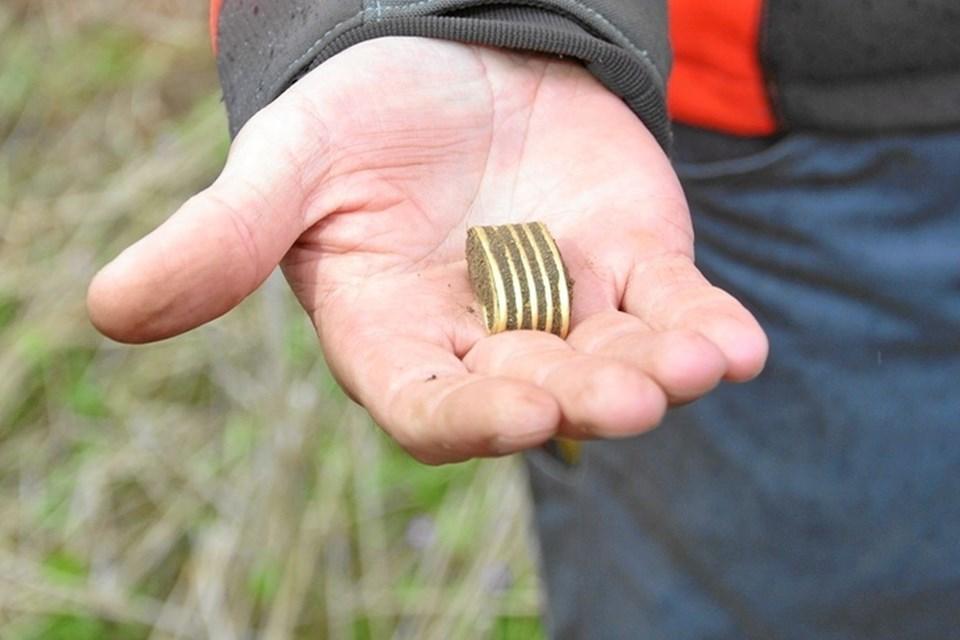 Ved et af de sidste detektor-rallyer lød det pludselig fra en af deltagerne: - En guldring, en guldring! Man forstår godt overraskelsen og glæden ved dette fund, men selvom materialet var guld, så var det ikke en ring, men en del af et sværdgreb.Foto: Ole Torp Ole Torp
