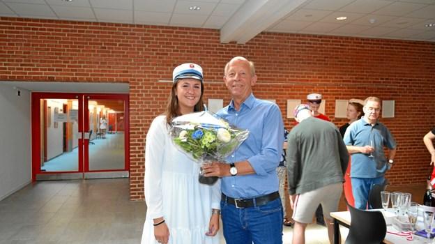 Der var blomster fra rektor Per Knudsen.Privatfoto
