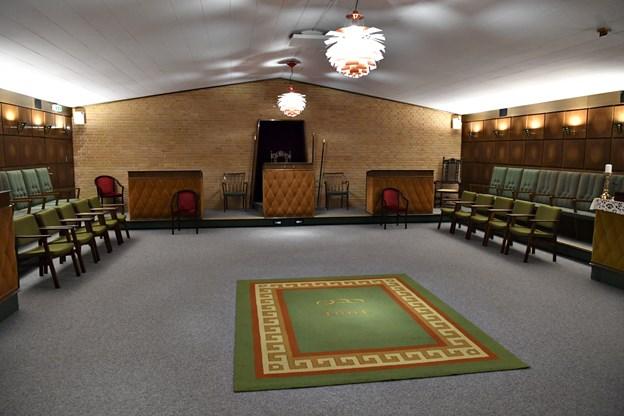 Her i logesalen mødes man og gennemgår forskellige ting og hører oplæg gerne med etisk indhold. Foto: Kurt Bering Kurt Bering