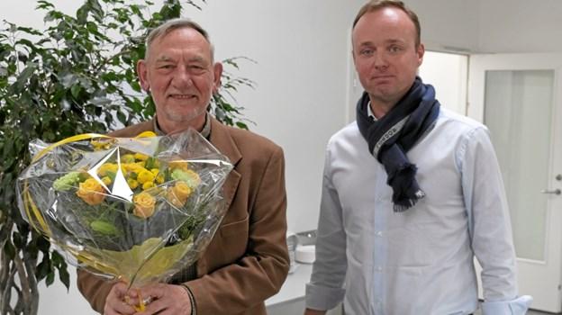 80-års-fødselaren Peer Bak og Rasmus H. Jensen. Foto: privat.