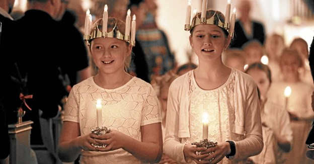 Der blev indledt med et højtideligt Lucia-optog. Foto: Allan Mortensen