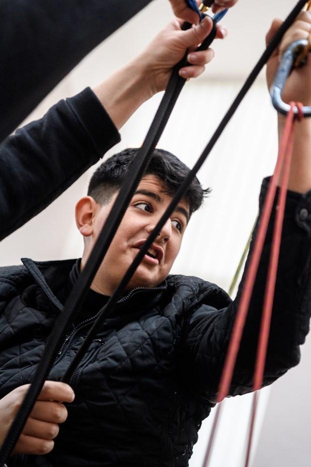Jobmesse på Thorsgaard Efterskole, hvor skolens elever tager imod 5. Og 6. klasseelever fra Valsgaard Skole. Foto: Nicolas Cho Meier