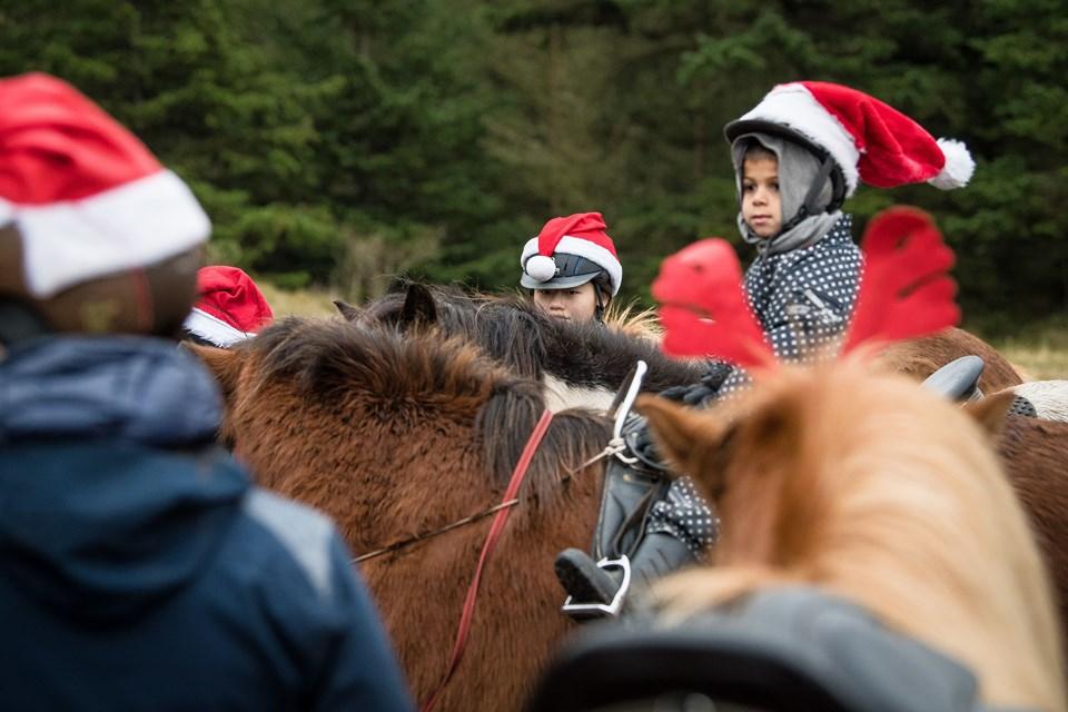 Gustav (5) begyndte at ride sidste år, men han får endnu ikke lov til selv at styre hesten. Hans bedstemor, Henny Bruun, rider ved siden af og har en snor den gamle og rolige heste, som Gustav rider på.