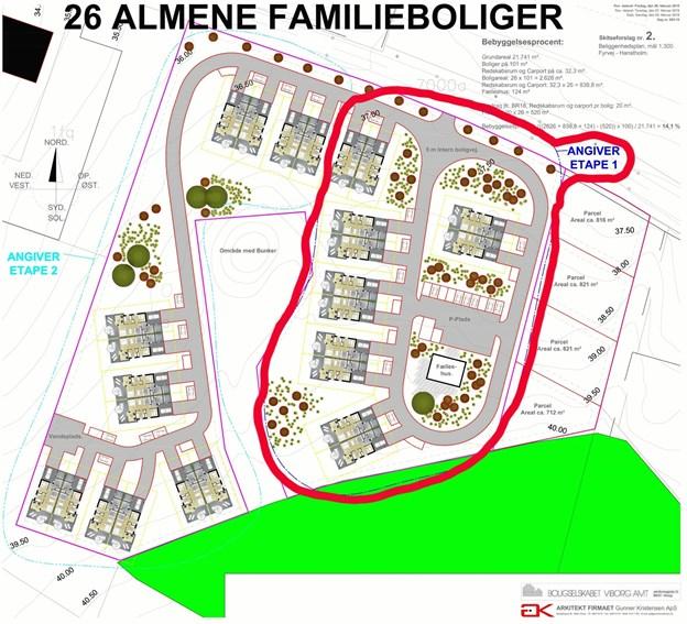 Skitsen fra Boligselskabet Viborg Amt over placeringen af de 26 almennyttige boliger. Indenfor rød streg angiver de første boliger der skal bygges.