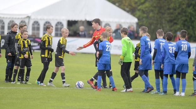 NUGF i gul og sort klar til kamp mod litauiske modstandere.