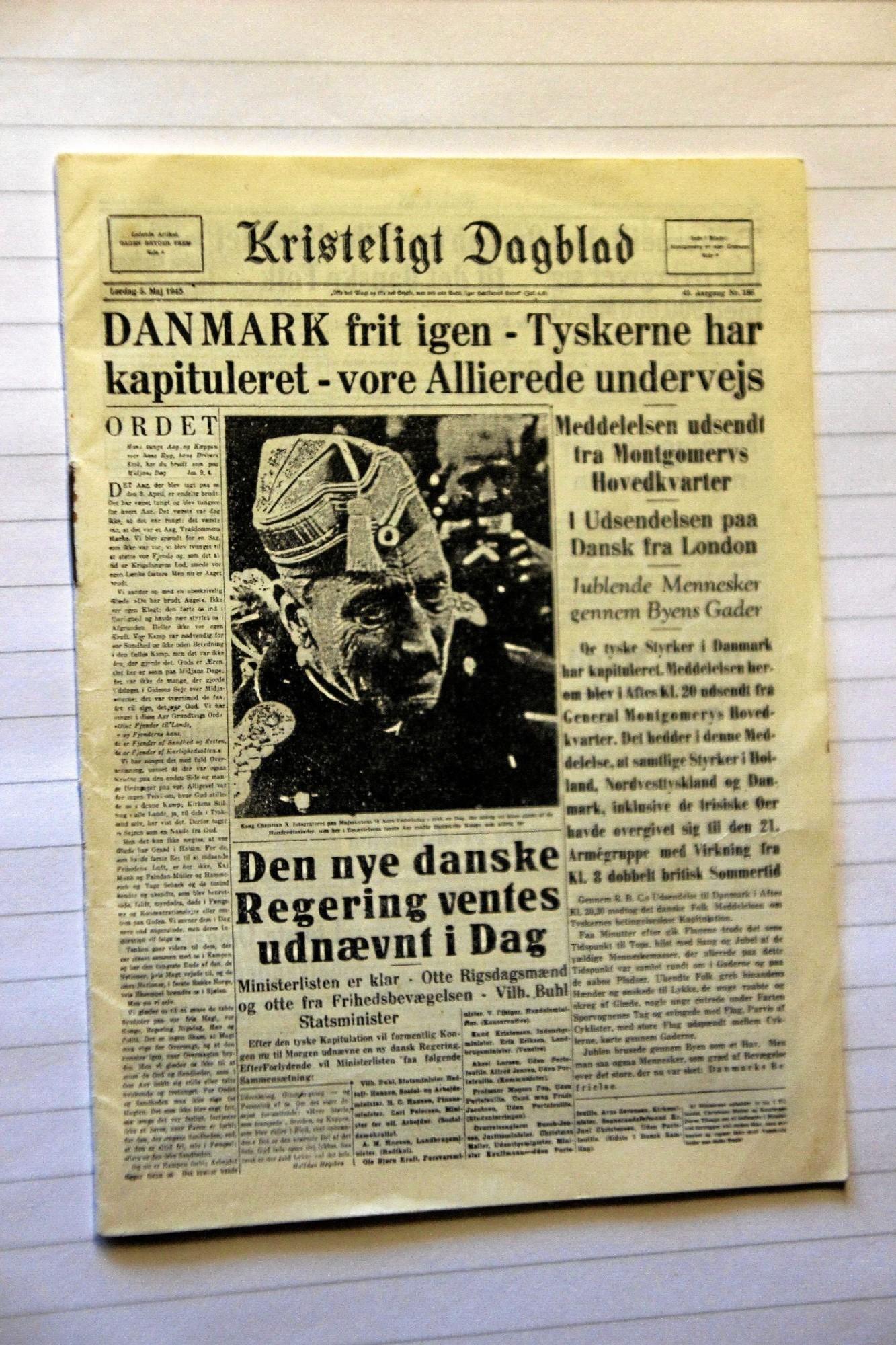Her et billede af den lille miniudgave af Kristeligt Dagblad helt tilbage fra 5. maj 1945. Foto: Hans B. Henriksen