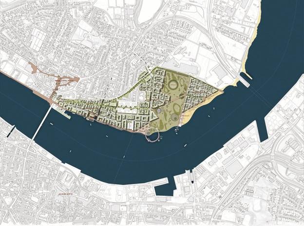 Der bygges fire boligkarréer ned til fjorden på samlet set 35.000 kvadratmeter og op til 400 boliger. PR Foto