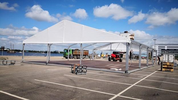 Teltet, der skal rumme Siemens Gamesa Scenen i Østre Havn, er ved at blive bygget. Foto: Keld Rud Nielsen