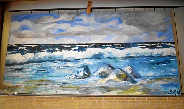 Vægmaleriet af Søren Nymark skal pryde forsamlingshuset.