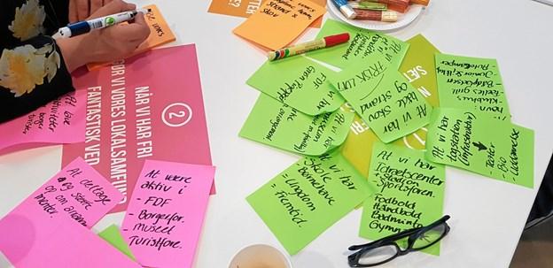 Der blev udfyldt 61 posters med de mange muligheder af fritidsinteresser i Aalbæk. Foto: Ole Svendsen
