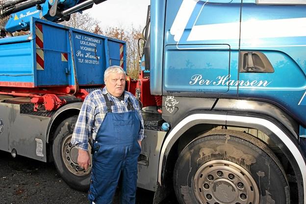 Vognmand Per Hansen kan 1. december fejre 30-års jubilæum som selvstændig vognmand. Foto: Jørgen Ingvardsen