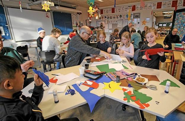 Der var stor aktivitet i alle klasser i indskolingen. Børnene havde næsten ikke tid til at holde pauser. Foto: Jørgen Ingvardsen Jørgen Ingvardsen