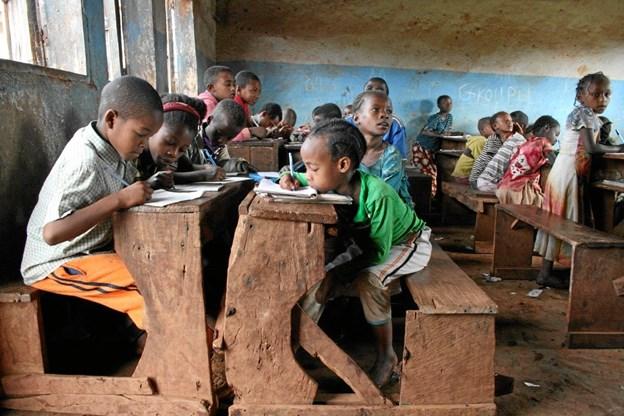 Nogle af verdens fattigste klasselokaler findes blandt andet i Hawassa i Etiopien. Foto: Lene Godiksen/SOS Børnebyerne