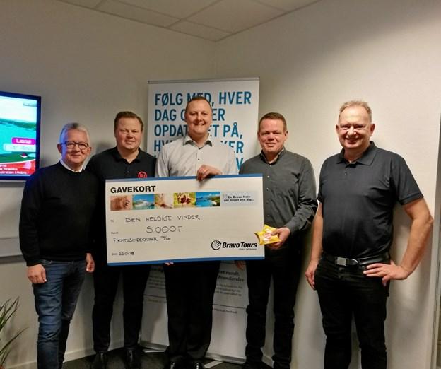 Fra venstre: Peter Andersen, Nordjyske Medier, Lars Jørgensen, BI, Jacob Rask, BDO, Morten Brix, Kop & Kande, og Flemming Holm, BI.Privatfoto