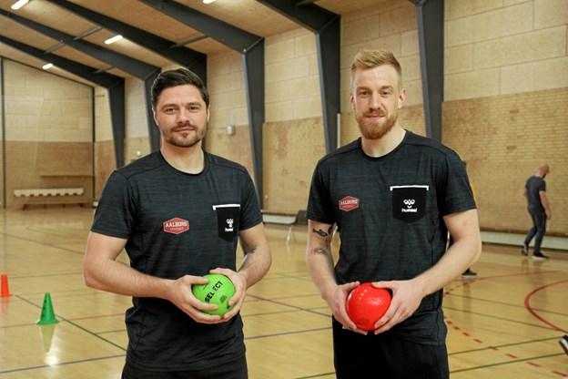 Jesper Meinby og René Antonsen fra Aalborg Håndbold. Flemming Dahl Jensen