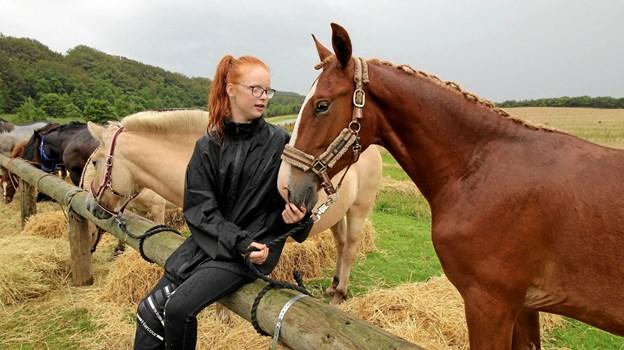 Freja Broberg Karlsen deltog sammen med sin hest i hestedagen på Dorf Møllegaard.  Foto: Jørgen Ingvardsen