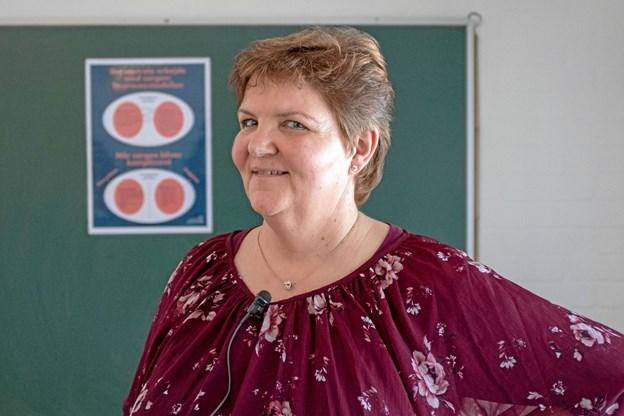 Hospicesygeplejerske og sorgrådgiver Britta Eckhardt fortalte om sorgens svære betingelser i Lendum Sognegård. Foto: Niels Helver Niels Helver