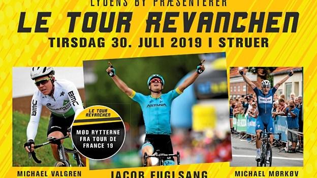 Michael Valgren dyster tirsdag aften efter Tour de France mod Jakob Fuglsang, Michael Mørkøv og 50-60 hjemlige ryttere i Struer. Privatfoto