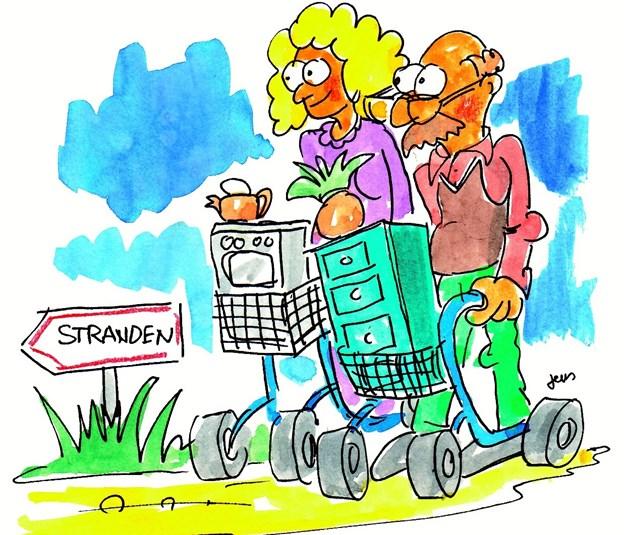 En rollator udleveres altid på stedet, hvis du som handicappet har brug for den. Arkivtegning: Jens Schmidt Andersen