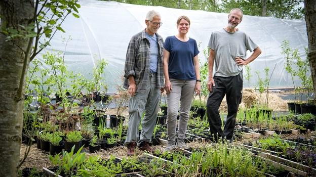 Josef Blockx til venstre, Louise Lund Holm Thomse og Kaj Henriksen foran det store drivhus.