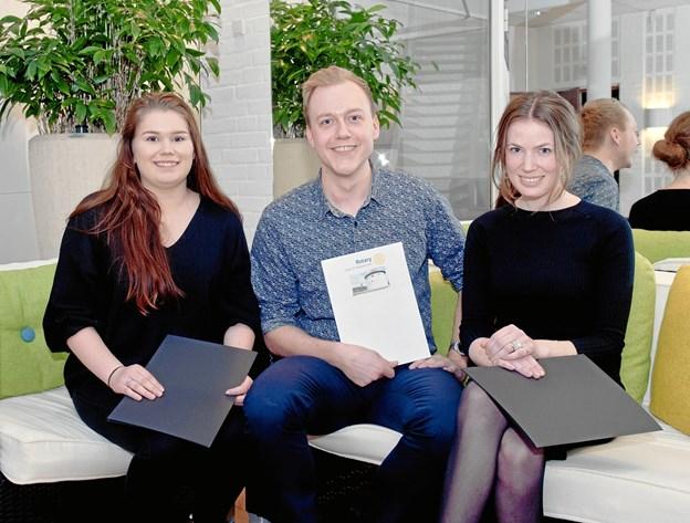 De tre legatmodtagere - fra venstre: Rikke Sørensen, Christian Bisgaard og Fie Victoria Møjen Christensen.Privatfoto