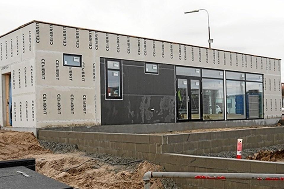 Havnecafe ved at blive bygget. Foto: Hirtshals Havn