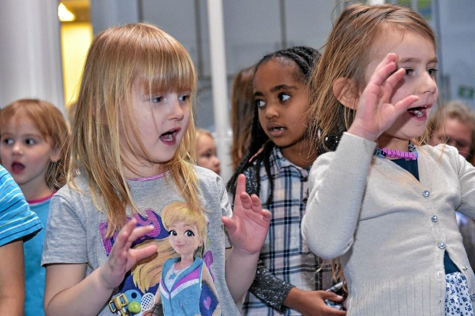 Børnene viste, at de allerede havde lært at synge højere, flere og sværere sange. Foto: Ole Iversen Ole Iversen