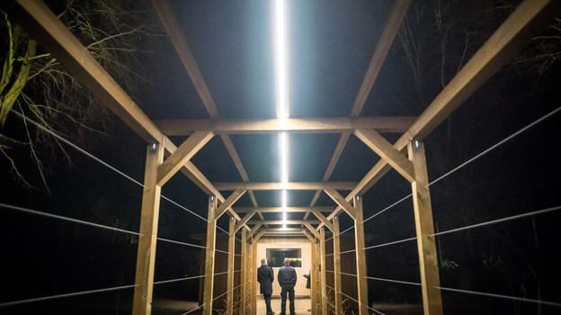 Indgangen mod den nye pavillon skal over tid dækkes af duftranker, og inde i pavillonen vil der være informationstavler og mødested for ture rundt i Hedelund.Foto: Martin Damgård Martin Damgård