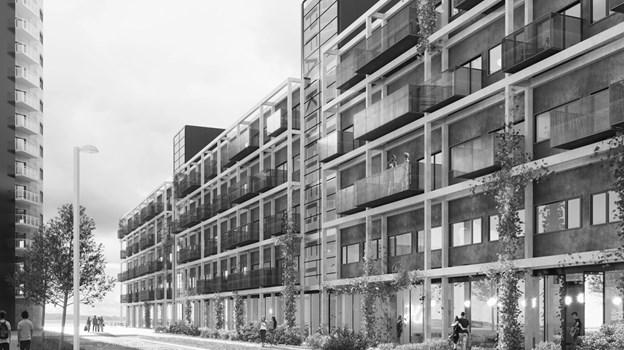 De 220 nye kollegieværelser bliver indrettet i en nuværende kontorbygning. Illustration: Arkitema Architects