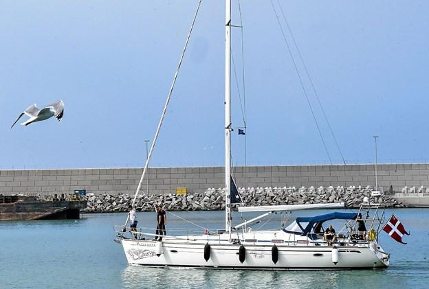 Veteranen på vej ind i Hanstholm Havn. Det 46 fod lange skib har plads til otte gaster. Foto: Ole Iversen