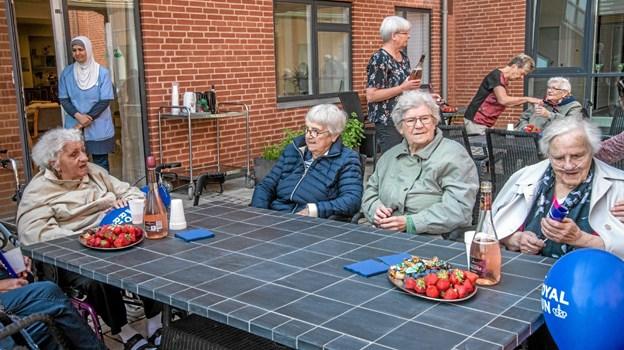 """Der var forfriskninger, jordbær og lidt til den søde tand til alle deltagere efter """"løbet"""". Foto: Mogens Lynge Mogens Lynge"""