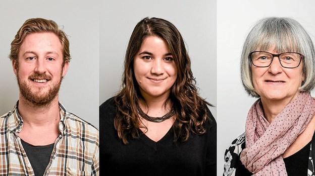 Kom op på biblioteket i Sindal, og mød disse tre bibliotekarer: Frederik, Maria og Kirsten. ?Foto: Martin Jørgensen