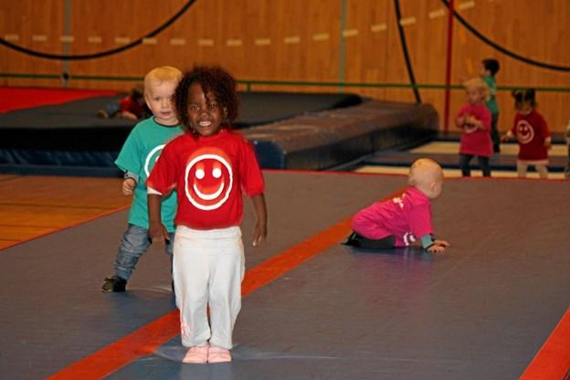 Der var ca. 40 børn med i hallen. Foto: Flemming Dahl Jensen Flemming Dahl Jensen