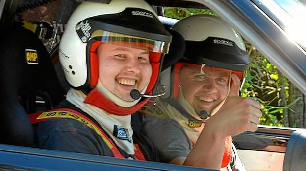 Rallyparret Christian André L.F. Christensen og Anders Gade Nielsen  var godt tilfredse med deres debut i rally sprint. BN6920