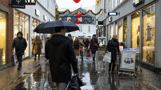 Låneparaplyerne bliver en del af bybilledet omkring 1. februar. Foto: Lasse Sand