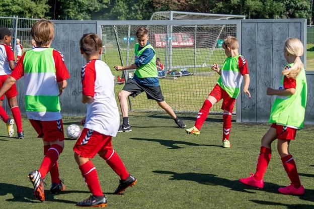 En hjælpetræner kan også tage en tørn på mål - som her 15-årige William Elkjær under DBU's Fodboldskole for nylig i Hobro. Foto: Henrik Bo