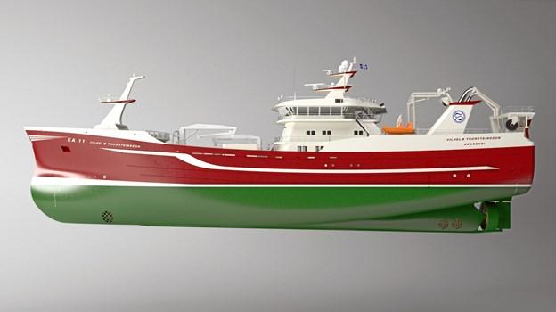 Sådan kommer det ene af skibene efter planen til at se ud i 2020.Model: Karstensens Skibsværft