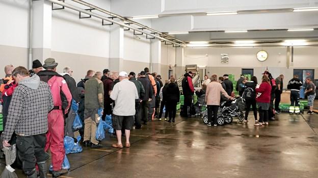 Havfiskerne stod i kø ved indvejningen i auktionshallen. Foto: Peter Jørgensen Peter Jørgensen