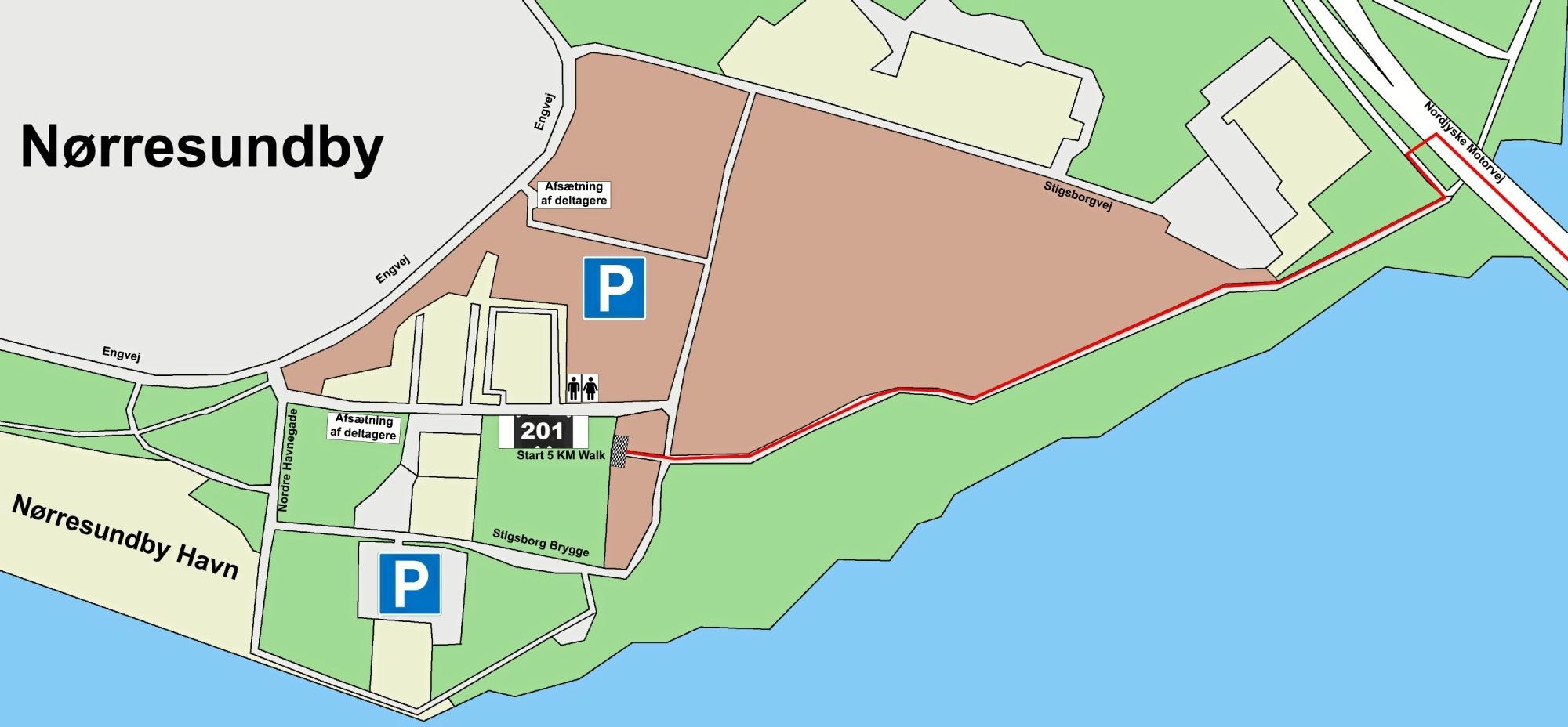 På Aalborgsiden skal man bruge de allerede eksisterende p-muligheder - på Nørresundbysiden er der etableret et særligt område. Kort: DGI