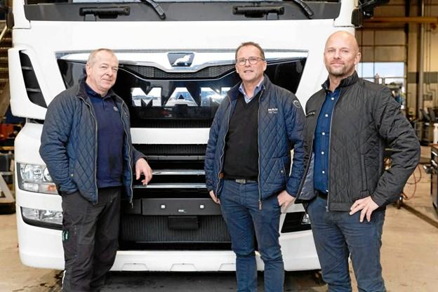 Den nye ledelse i MAN Nordjylland er Kjeld Jacobsen, Erik B. Nielsen og Carl Erik Houmann.