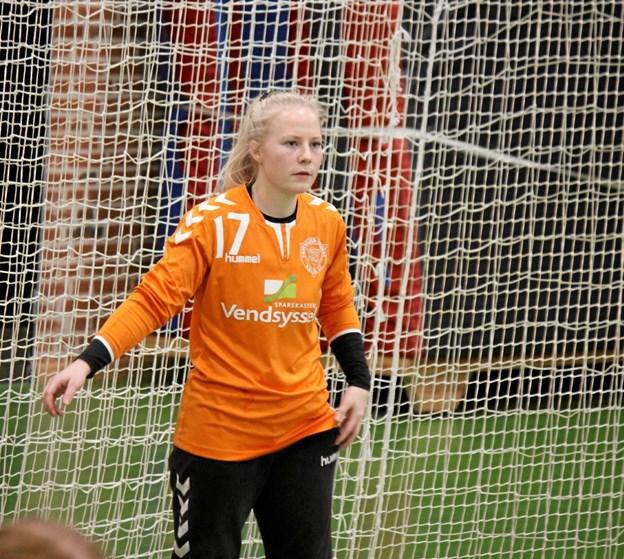 Målmand Gitte Sørensen er en vigtig sidste skanse for Skovsgård/Brovst KFUM.? Foto: Flemming Dahl Jensen Flemming Dahl Jensen