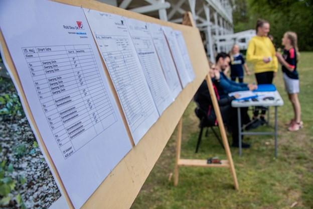 I målfeltet blev klassernes løbsresultater løbende noteret på en opslagstavle. Martin Damgård