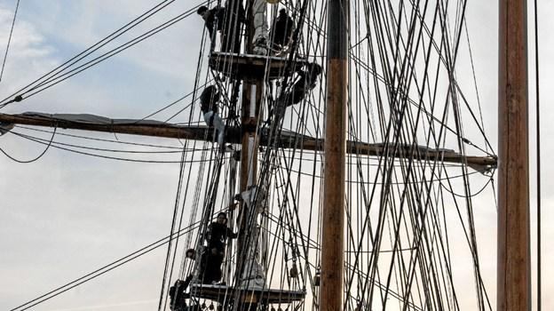 Nogle af eleverne hyggede sig i masten med en klatretur. Foto: Mogens Lynge Mogens Lynge