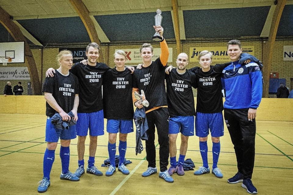 Thisted FC blev også Thy-mestre indendørs. De vandt finalen med den mindste margin, efter forlænget spilletid og først scoret mål mod Hanstholm. Foto: Kristian Amby