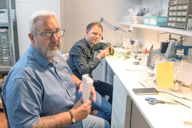 26-årige Jakob Münster Skov er blevet færdig som urmager - han fortsætter med at nørde med ure i værkstedet i Byens Ure & smykker i Strømgade hos urmager Olav Hansen. Foto: Henrik Louis
