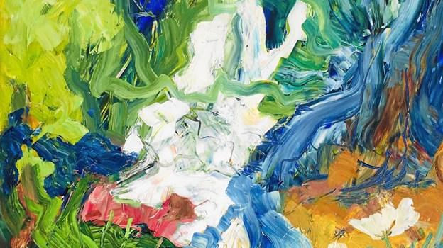 Yrsa Dunvad arbejder med de stærke farver i sine malerier.